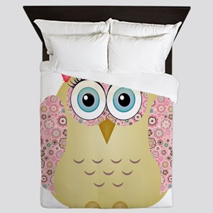 Owl with Floral wings Queen Duvet