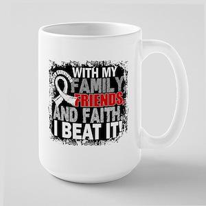 Lung Cancer Survivor FamilyFriendsFaith Large Mug