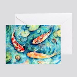 Watercolor Koi In Lily Pond Greeting Cards
