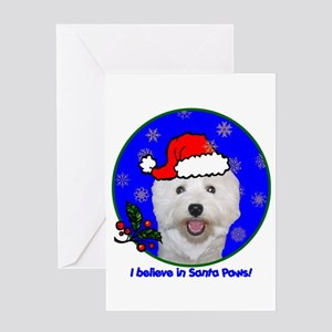 SANTA PAWS Westie Greeting Card