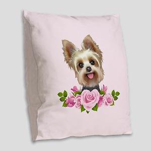 Yorkie Pink Roses 2 Burlap Throw Pillow