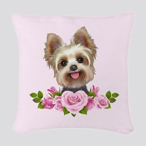 Yorkie Pink Roses 2 Woven Throw Pillow