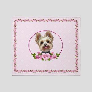 Yorkie Pink Roses 2 Throw Blanket