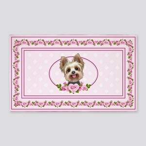 Yorkie pink roses 2 Area Rug