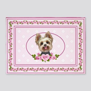 Yorkie pink roses 2 5'x7'Area Rug