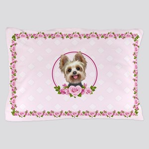 Yorkie pink roses 2 Pillow Case