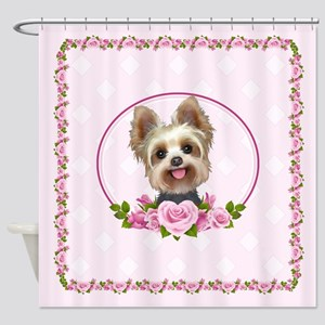 Yorkie pink roses 2 Shower Curtain