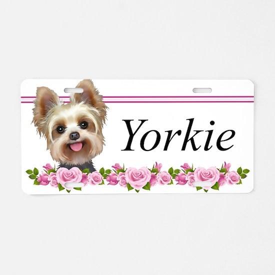Yorkie pink roses 2 Aluminum License Plate