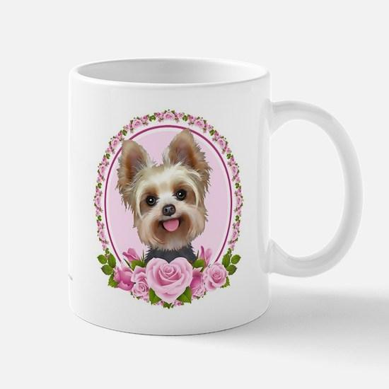 Yorkie pink roses 2 Mug