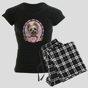Yorkie pink roses 2 Women's Dark Pajamas