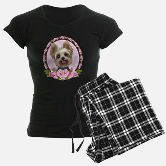 Yorkie pink roses 2 Pajamas
