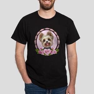 Yorkie pink roses 2 Dark T-Shirt