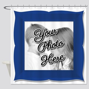 CUSTOM Photo Frame Blue Shower Curtain