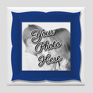 CUSTOM Photo Frame Blue Tile Coaster