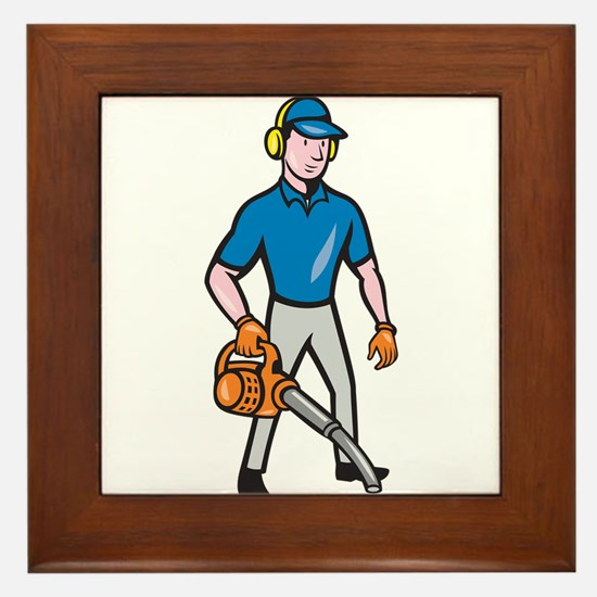 Gardener Landscaper Leaf Blower Cartoon Framed Til