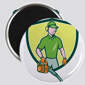 Gardener Landscaper Leaf Blower Crest Cartoon Magn