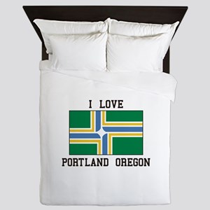 I Love Portland Oregon Queen Duvet