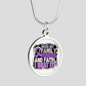 Cancer Survivor FamilyFriend Silver Round Necklace