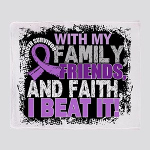 Cancer Survivor FamilyFriendsFaith Throw Blanket