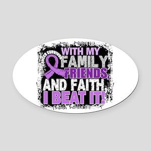 Cancer Survivor FamilyFriendsFaith Oval Car Magnet
