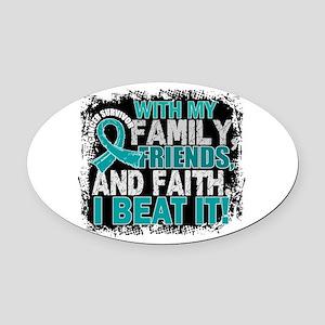 Gynecologic Cancer Survivor Family Oval Car Magnet