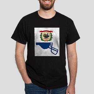 West Virginia State Flag Football Helmet T-Shirt