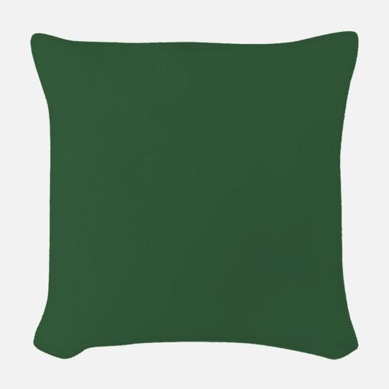 Solid Hunter Green Woven Throw Pillow