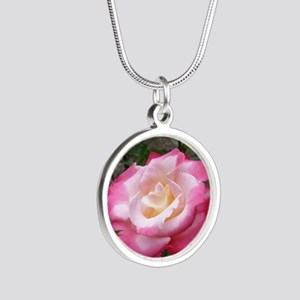 Love you Mom Rose Silver Round Necklace