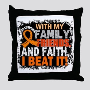 Leukemia Survivor FamilyFriendsFaith Throw Pillow