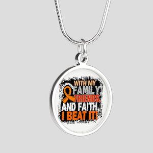 Leukemia Survivor FamilyFrie Silver Round Necklace