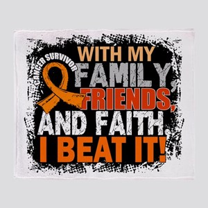 Leukemia Survivor FamilyFriendsFaith Throw Blanket