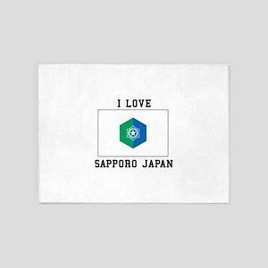 I Love Sapporo Japan 5'x7'Area Rug