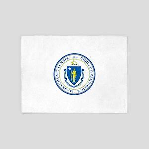 Massachusetts State Seal 5'x7'Area Rug