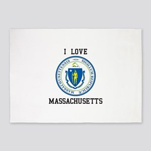 I Love Massachusetts Seal 5'x7'Area Rug