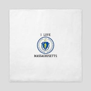 I Love Massachusetts Seal Queen Duvet