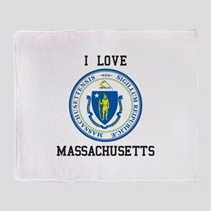 I Love Massachusetts Seal Throw Blanket