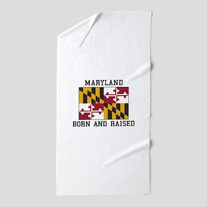 Born and Raised Maryland Beach Towel