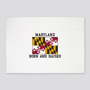 Born and Raised Maryland 5'x7'Area Rug