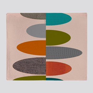 Mid-Century Modern Ovals and Abstrac Throw Blanket