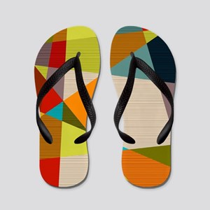 Mid Century Modern Geometric Flip Flops