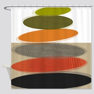 Mid-Century Modern Ovals and Abstra Shower Curtain