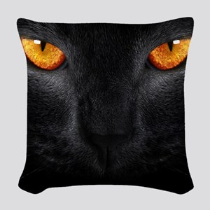 Black Cat Woven Throw Pillow