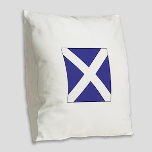 "ICS Flag Letter ""M"" Burlap Throw Pillow"