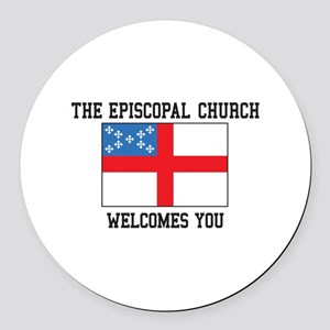 The Episcopal church welcomes you Round Car Magnet