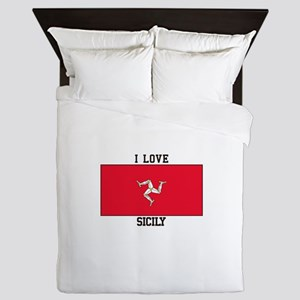 I Love Sicily Queen Duvet