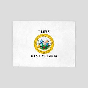 I Love West Verginia 5'x7'Area Rug