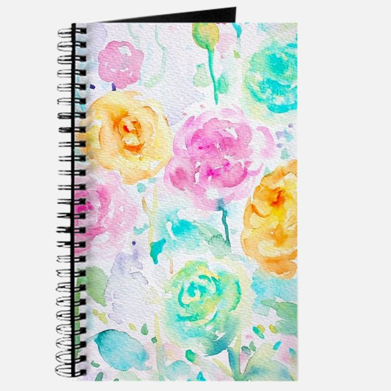 Watercolor Ranunculus Flower Pattern Journal