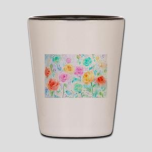 Watercolor Ranunculus Flower Pattern Shot Glass