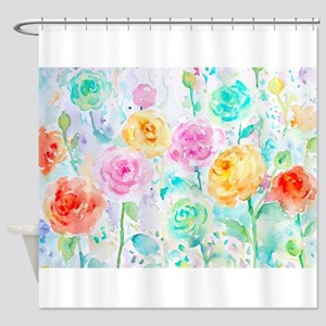 Watercolor Ranunculus Flower Patter Shower Curtain