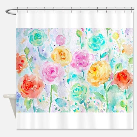 Watercolor Ranunculus Flower Patter Shower Curtain